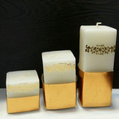 شمع استوانه مکعب طلایی-1