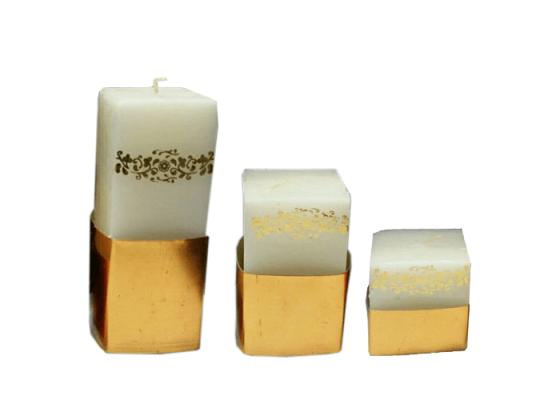 شمع استوانه مکعب طلایی