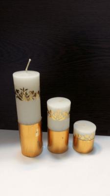 شمع استوانه گرد گلد قطر 3