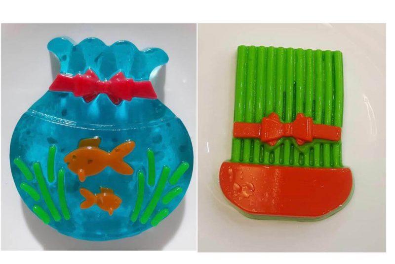 ژله تنگ ماهی و سبزه