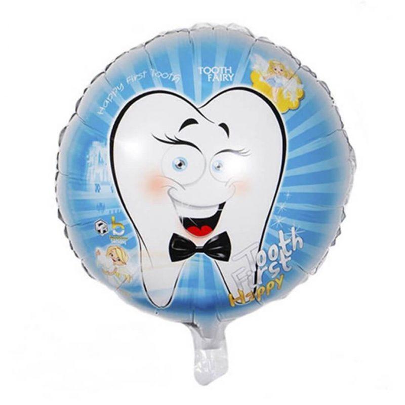 بادکنک فویلی طرح دندان پسرانه
