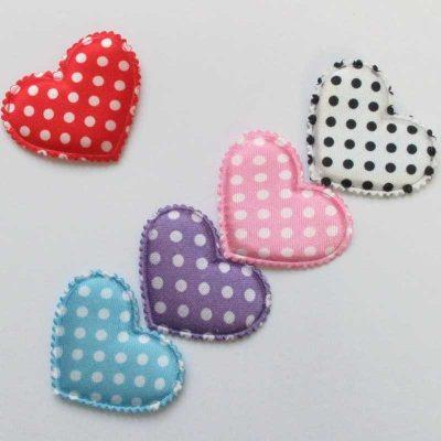 قلب پارچه ای 250 عددی صورتی طرح دار-2