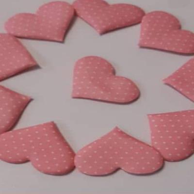 قلب پارچه ای 250 عددی صورتی طرح دار