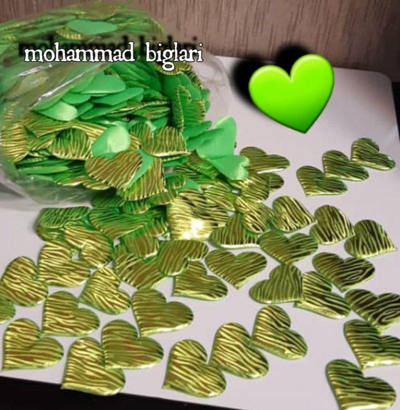 قلب پارچه ی۲۵۰ عددی سبز -3