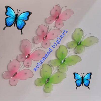 پروانه توری تزیینی 100 عددی